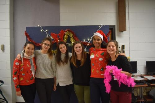 Exchange students at holiday social